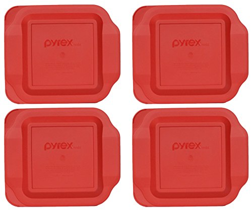 Pyrex Red Plastic Lid for 2 Quart 8-inch Square Baking Dish #222-PC (4-Pack)