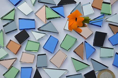 120 gr. Spiegelmosaik Formen-Mix 15-35mm bunt, ca. 48 St. (Grundpreis: EUR 4,16 / 100g)