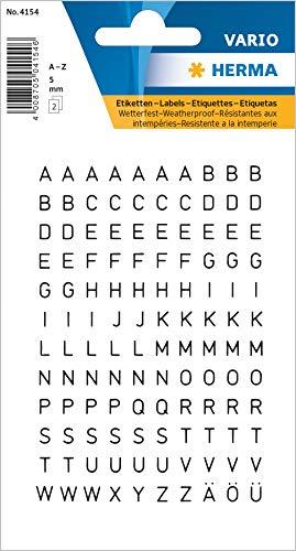 HERMA 4154 Buchstaben Aufkleber A - Z, wetterfest (Schriftgröße 5 mm, 2 Blatt, Folie) selbstklebend, permanent haftende Alphabet Sticker, 240 Etiketten, transparent / schwarz