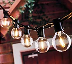 KLED Connectable 18Ft LED G40 Outdoor Patio String Lights with 12 Shatterproof LED Clear Bulbs,Warm White Ambience Indoor...