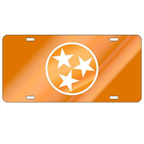 Fhdang Decor Tennessee Volunteers Orange Tri-Star License Plate Aluminum License Plate, Front License Plate, Vanity Tag 4 Holes Auto Tag Car Accessories 6' X 12'