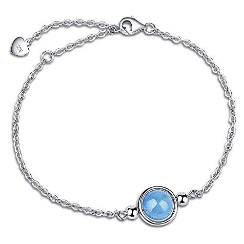 Dalwa 925 Silber Armband Damen mit Naturstein Aquamarin-Charm, Weißgold überzogene Armkette, inkl. Geschenkverpackung