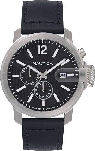Nautica Reloj Sydney Multi de acero inoxidable para hombre, correa de piel de cuarzo japonés, negro, 22 años casual (modelo: NAPSYD015)