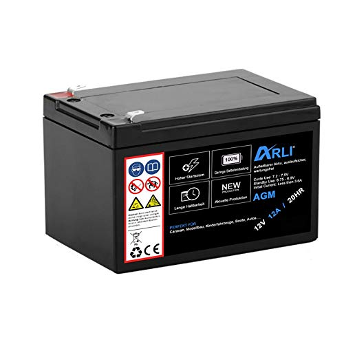 Akku für AGM Blei 12V 12Ah 20HR 12000mAh Batterie Glasfaservlies Bleiakku Bleigel Vlies wartungsfrei Technik Universal