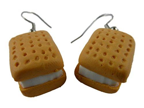Ohrringe Ohrhänger Hänger handgemacht Eis Keks Waffel Creme Füllung Bäckerei 9080