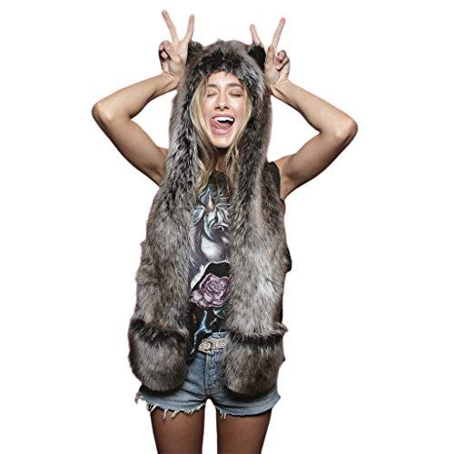Njuyd - Guantes de peluche 3 en 1 para mujer y hombre, diseo de leopardo, con capucha de peluche, con guantes de patas, guantes gruesos y clidos, para invierno