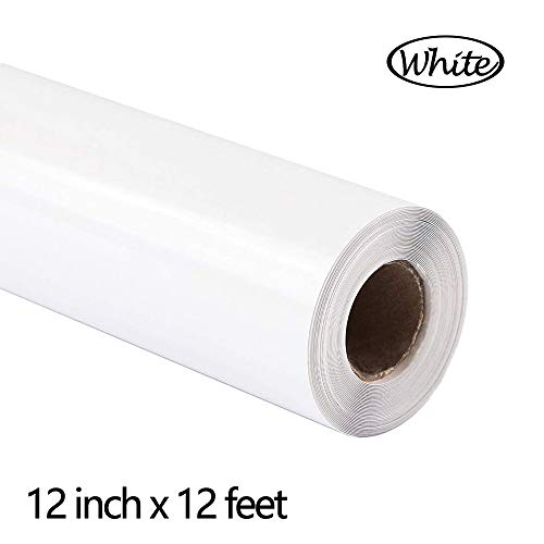 FUNKAKA Heat Transfer Vinyl PU Adhesive HTV 12 Inch x 12 Feet White Iron on Vinyl Easy to Cut & Weed DIY Design for T-Shirt (White)