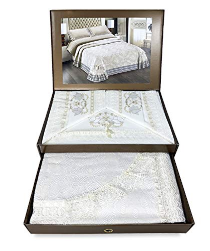Tex Family - Baúl con encaje de macramé bordado, color crema para cama de matrimonio, sábana y colcha de cama Idea de novia