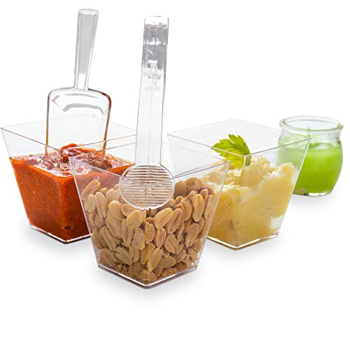 The Gourmet Goose 8 Oz Clear Plastic Condiment Cups (Set of 20), 12 Scoops, 12 Tongs, Reusable & Disposable Party Bowls for Parties, Weddings, Showers, Buffets, Candy Table, Kids' Party & More