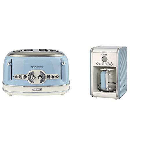 Ariete 156/05-blue Vintage 4-Schlitz-Toaster, lackierter Edelstahl, Blau & 1342 1342BL 12-Tassen-Kaffeemaschine Vintage, 2000 W, blau, Kunststoff, 2.1 liters