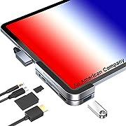 """CharJenPro USB C Hub for iPad Pro 2020 - 2018, CharJenPro Angle USB C Hub for iPad Pro, MacBook Pro 16"""", 15"""" 13"""". 4K HDMI, 3.5mm Jack, Micro SD / SD Card Reader, USB 3.0, USB C PD"""
