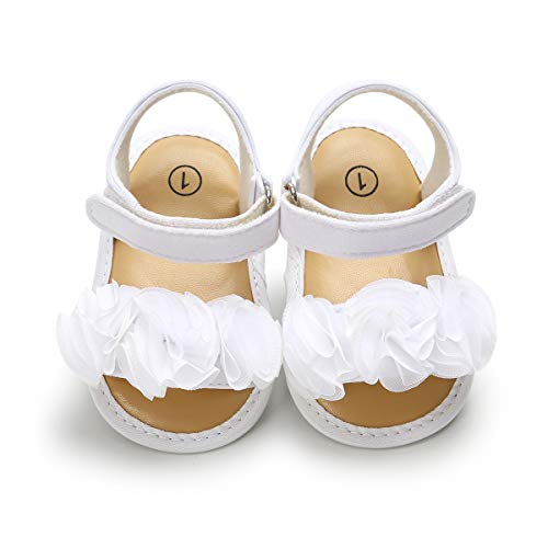 Isbasic Baby Girls Sandals Bohemia Flower Bow Soft Sole Toddler First Walkers Beach Summer Shoes, H-white, 6-12 Months Infant