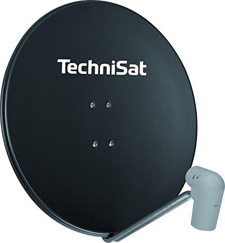 TechniSat SATMAN 850 PLUS Satellitenschüssel (85 cm Sat Anlage mit Masthalterung und Universal Twin-LNB für bis zu 2 Teilnehmer) grau
