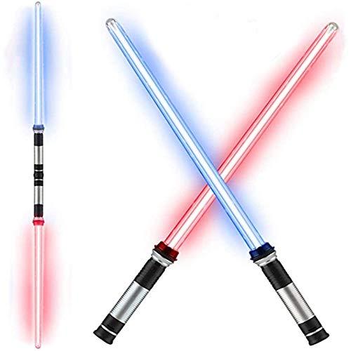 Gjfhome Espada de luz telescpica de Juguete Intermitente Espada Cosplay Luminosa Estrella Juguete Espadas nios Juguete Regalo 2 en 1, Espada de luz lser LED con luz con Conector
