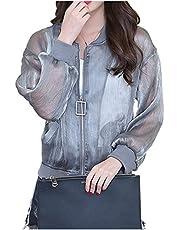 [ネコート] ブルゾン シフォン ストライプ シースルー ファスナー ポケット 軽量 涼しい 透け感 レディース