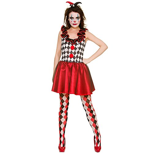 Disfraz de Harlequin Jester para mujer, color rojo