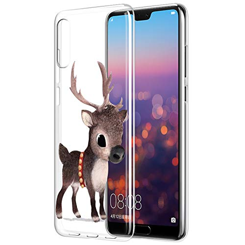 Eouine Huawei P20 Pro Hülle, Schutzhülle Silikon Transparent mit Weihnachten Muster Motiv Handyhülle  Ultra Dünn] Slim Weich TPU Bumper Case Backcover für Huawei P20 Pro (Süße Hirsche)