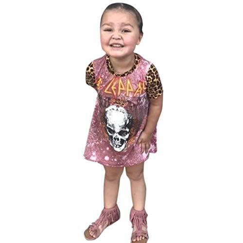 Halloween Kostüm Mädchen Kinder Schädel Drucken Leopard Patchwork A-Linie Kleider Kurz und Einfarbiges Hüte (110,Rosa)
