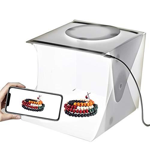 SANON Estudio Fotográfico Portátil Caja de Luz Carpa de Luz Fotográfica Caja de Luz Plegable Blanca con 40 Luces LED + 6 Fondos para La Exhibición del Producto