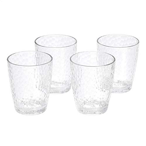 Amazon Basics Tritan Hammered Texture Double Old Fashioned Glasses - 14-Ounce, Set of 4