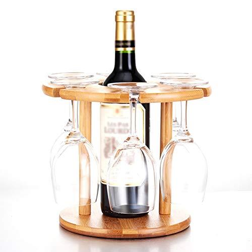 Portabottiglie di Vino Cremagliera del Vino Portabicchieri Porta-Bottiglie di Vino Scaffale Portabottiglie da Tavolo Portabottiglie in Vetro Bamboo Hold Six Cups GAOFENG (Colore : 6 Cups)