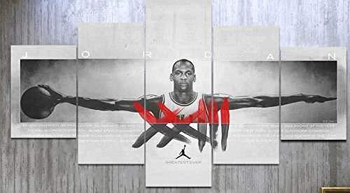 Impresiones en lienzo Imagen 5 piezas Pinturas Michael Jordan Wings Chicago Bulls Baloncesto americano AllStar Obras de arte moderno Decoración de la sala de estar Decoración del dormitorio Decor