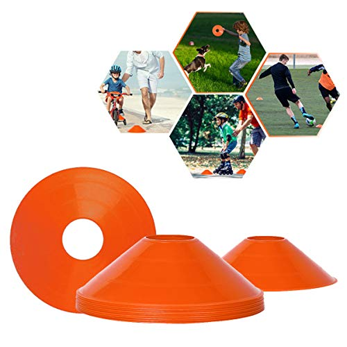 BIZBON 10 Pack Pro Disc Cones Sports Cones,Basketball, Agility Soccer Cones,Football, Kids,Sports,Field Cone Markers,Agility Field Marker Cones (Orange)