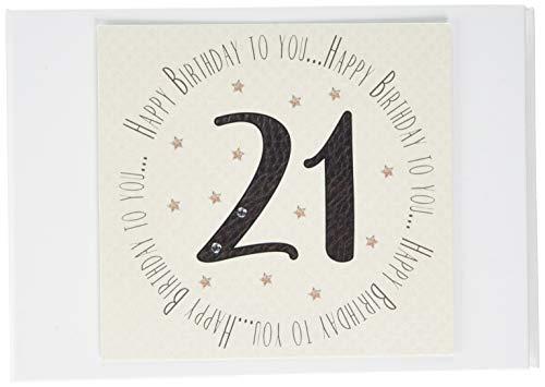 Witte katoenen kaarten 21e verjaardag herinneringen fotoalbum (MTGA21T), van
