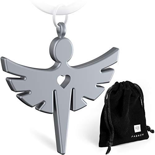 FABACH Schutzengel Fabiel Schlüsselanhänger mit Herz - Edler Engel Anhänger aus Metall in mattem Silber - Glücksbringer Geschenk für Auto, Führerschein - Fahr vorsichtig