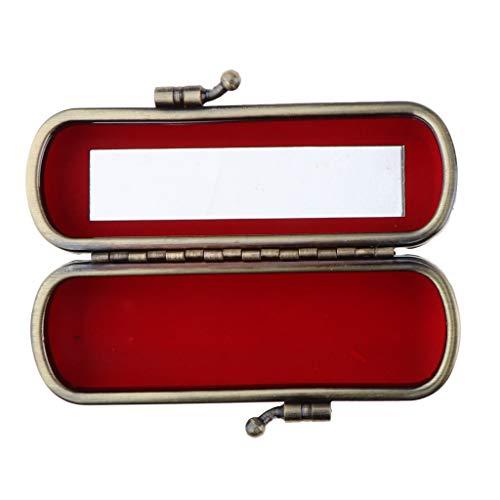 MERIGLARE Boîte De Rangement De Bijoux Compacte De Support De Brillant à Lèvres De Rouge à Lèvres Avec Miroir Et Clip En Métal - Noir