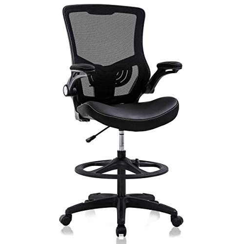 Drafting Chair Tall Office Chair Ergonomic Desh Chair with Lumbar Support Foot Ring Flip Up Arms Height Adjustable Rolling Swivel Mesh Drafting Stool Task Executive Chair for Standing Desk, Black