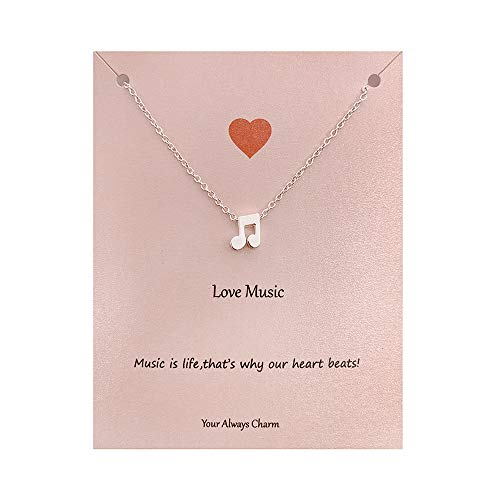 Your Always Charm Music Lover Gifts,Treble Clef Music Note Necklace 16'-18' (silver 2)