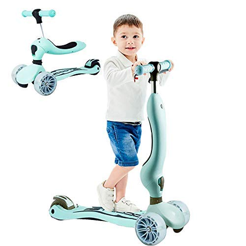 LBLA Scooter for Kids with Folding Seats , 3 Wheels Mini Kick Scooter for Girls & Boys Toddlers Ages 2 Years or Older (Green)