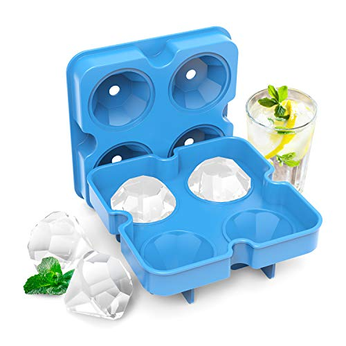 KOIOS Ice Cube Trays, Ice Cubes Silicone Molds with Lids, Ice Trays Cubes BPA free Diamond Ice Maker, Easy-Release Flexible Ice Molds for Freezer, Whiskey & Cocktails, White-Blue (4-Pack)