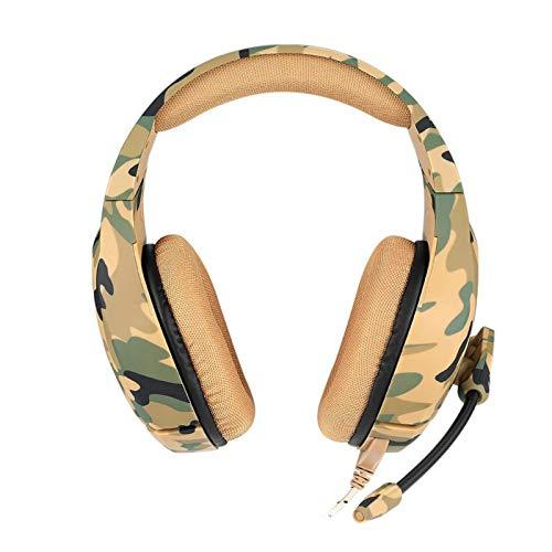 KIKIRon Gaming-Headset 3,5 mm Camouflage-Spiel Helm mit Stereo-Micro/Rausch-Stornierung/atmungsaktive geflochtene Linie/atmungsaktive Memory-Foam Gaming-Headset mit 3D-Surround-Sound