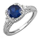 Anello da sposa in oro bianco 14 carati con zaffiro blu e diamanti bianchi e Oro bianco, 19,5, cod. DR1785-595-C-14KW-9