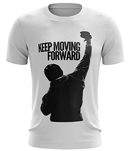 Stylotex Fitness T-Shirt Herren Sport Shirt Keep Moving Forward Gym Tshirts für Performance beim Training | Männer Kurzarm | Funktionelle Sport Bekleidung, Größe:S, Farbe:Weiss