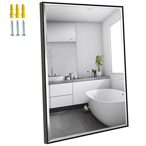 Amazon Brand - Eono Espejo de Pared de 91x61 cm, Espejo Rectangular Grande con Marco Negro, Apto para Baño, Salon y...