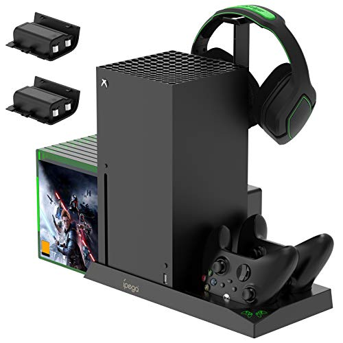 FASTSNAIL Soporte vertical con ventilador de refrigeración para estación de carga Xbox Series X para controlador Xbox Series X/S, base de carga para controlador con ranura de juego