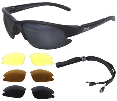 Rapid Eyewear Rapid Eyewear Brille: 'Nimbus' SPORTBRILLE mit Polarisiert Wechselgläser für Damen und Herren. UV Schutz 400 Sonnenbrille. Sehr dunkle Linsen enthalten