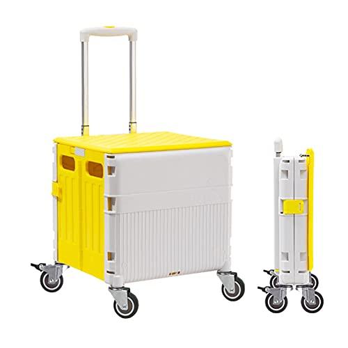 Carretilla con Caja Plegable Carro de Compras Plegable, Caja de Almacenamiento de 45L con Mute Resistente al Desgaste, Maleta de troncal de automóviles Multifuncional (Color : Yellow)