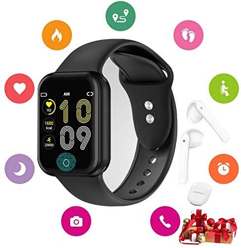 Smartwatch Offerta Del Giorno, Orologio intelligente per Uomo Donna Touch Screen IP67 Orologio Sports Auricolare Bluetooth Tracker Attività Fitness registrazione per Android iOS (nero)