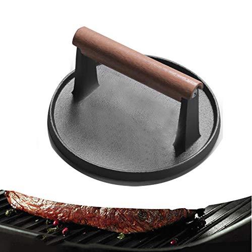 Fonte Bacon Press/Poids à Steak,Heavyduty Cast Iron with Wood Handle, Noire,Diamètre17.5cm