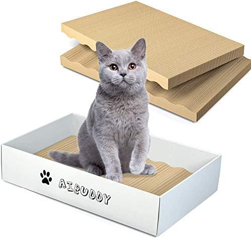 Aibuddy tiragraffi per gatti, 3 pezzi, in cartone reversibile con erba gatta biologica, design pulito con scatola tiragraffi