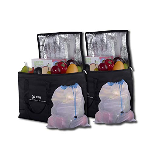 GPG Reusable Insulated Grocery Shopping Bags, 2 Pack Large Reinforced Collapsible Tote Cooler Bag For Groceries & Food Delivery, Eco Friendly Heavy Duty & Sturdy Zippered, X2 Mesh Bags