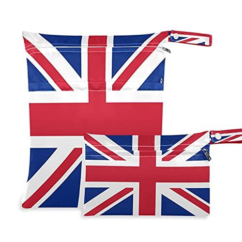 2 bolsas de tela para pañales húmedos, impermeables, de Inglaterra, bandera británica, reutilizables, lavables, para viajes, playa, yoga, gimnasio, para trajes de baño, ropa mojada