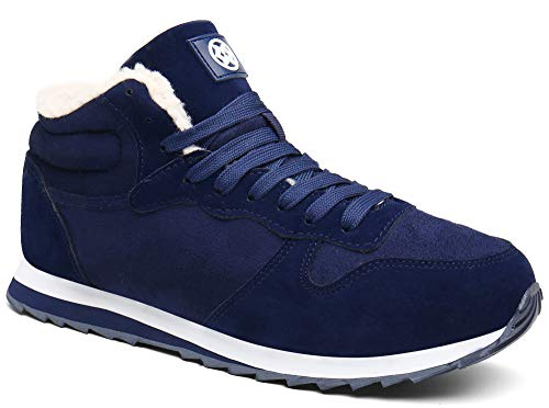 Gaatpot Herren Damen Winterschuhe Schneestiefel Winter Hohe Sneakers Warm gefütterte Leder Schnür Stiefel Boots Schuhe Blau EU 40.5 = CN 42