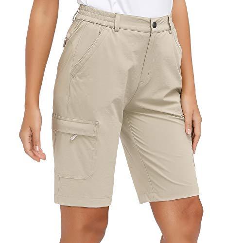 Libin Women's Lightweight Hiking Shorts Quick Dry Cargo Shorts Summer Travel Fishing Golf Shorts Outdoor Water Resistant Khaki M