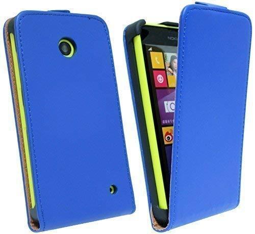 ENERGMiX Handytasche Flip Style kompatibel mit Nokia Lumia 630 in Blau Klapptasche Hülle