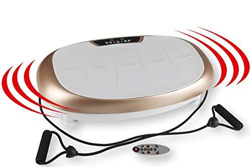 VITALmaxx Vibrationstrainer | 3 Verschiedene Trainingszonen | 30 Vibrationsstufen individuell einstellbar | Inklusive Expanderbändern mit Griffen [Champagner/Grau]